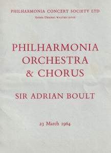Adrian Boult BBC Director Of Music 1964 Classical London Theatre Programme