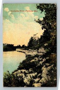 Fremont OH, Sandusky River, Scenic View, Vintage Ohio c1921 Postcard