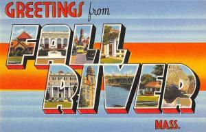 Fall River Massachusetts Greetings From large letter linen antique pc ZA440628
