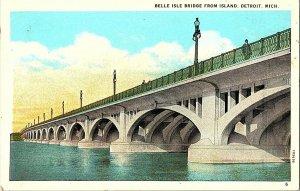 Belle Isle Bridge From Island Detroit Mich. Vintage Postcard Standard View Card