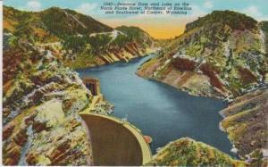 Scenic View of Seminoe Dam & Lake on North Platt River, Southwest of Casper, ...