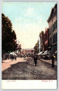 Owego New York~Boys on Narrow Cobblestone Lake Street~Bicycle~Stores~1911 PC