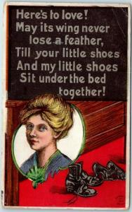 Vintage WINSCH Romance Postcard Here's to Love! Shoes Under Bed 1911 Cancel