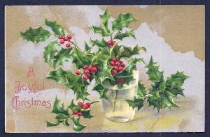 'Joyful Christmas' Holly in Water Glass Unused c1910s