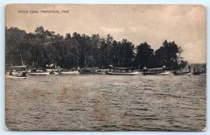 Postcard MI Manistique Indian Lake Boats 1909 A08