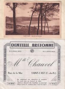 Saint Cast Le Guildo French Dentist Receipt Postcard Golf Map Guide Bundle