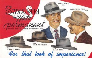 Swann Hats Mens Fashion Advertising Vintage Non PC Back AA5625