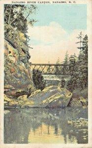 NANAIMO RIVER CANYON BRITISH COLUMBIA CANADA-STEEL BRIDGES~1920s POSTCARD