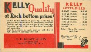 Darien Center New York Kelly Tire Advertising 1930s postcard 21-7568