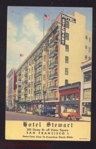 SAN FRANCISCO CALIFORNIA HOTEL STEWART OLD CARS LINEN ADVERTISING POSTCARD