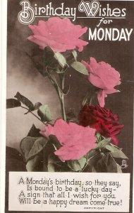 Beautiful pink roses. Birthday Message Tuck Birthday Greetings Ser. PC # 1032