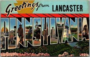 LANCASTER, PENNSYLVANIA Large Letter Postcard Curteich Chrome / 1943 Cancel
