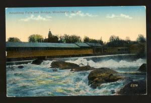 Manchester, New Hampshire/NH Postcard, Amoskeag Falls & Bridge