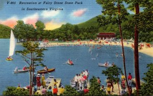 Virginia Fairy Stone State Park Recreation Showing Boaters and Beach