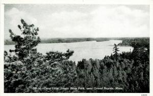 Big Fork-Grand Rapids MN Vw of Coon Lake Over Evergreen Trees~1946 Postcard B&W
