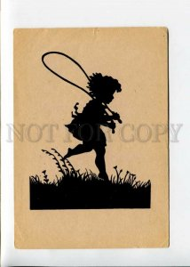 3142404 SILHOUETTE Girl Skipping rope by WERNER Vintage PC