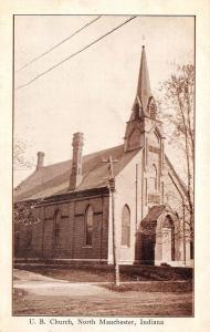 North Manchester Indiana~United Brethren UB Church~Dirt Road~c1910 Postcard