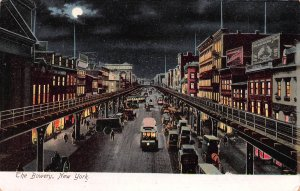The Bowery at Night, New York City, N.Y., Early Postcard, Unused