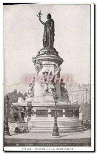 Old Postcard Paris Statue Of The Republic