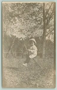 RPPC Little Tyke on Tricycle~Couple Swing~Mid to Late Autumn~Fallen Leaves~c1914
