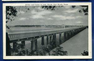 Bridge and Casino at Lake Worth Fort Worth Texas tx old postcard