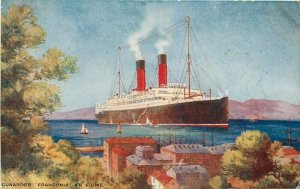 1920s Cunard Steamship Franconia Fiume Italy Art Advertising Postcard