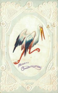 Vintage Embossed Stork Posted Postcard 1912 03.31