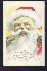 A MERRY CHRISTMAS SANTA CLAUS LARGE BEARD ANTIQUE VINTAGE POSTCARD 1910