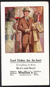 Mullin's illustrated blotter – Wilmington DE – Good Clothes are an Asset