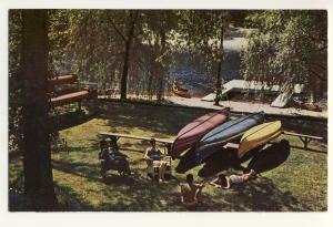 Moodus, Conn/CT Postcard, Ted Hilton's Resort,Waiting  Canoes, 1956!