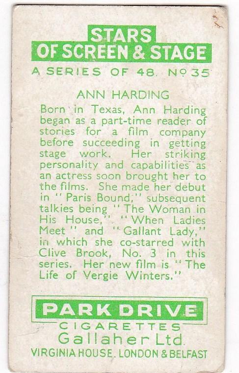 Cigarette Cards Park Drive STARS OF SCREEN & STAGE No 35 Ann Harding