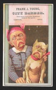 VICTORIAN TRADE CARD City Barber Woman with Dog Face & Dog