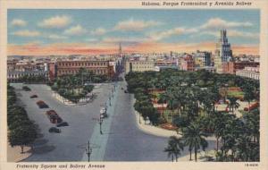 Cuba Havana Fraternity Square and Bolivar Avenue Curteich