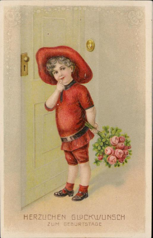 Boy with flowers bouquet door chromo litho embossed
