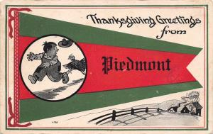 Thanksgiving Greetings from Piedmont Ohio~Turkey Chases Farmer~1914 Pennant PC