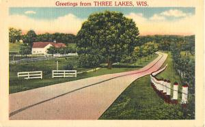 Scenic Linen Greetings from Three Lakes Wisconsin WI