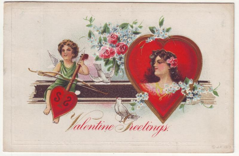 PC34 JLs old postcard valentines greetings cupid play music