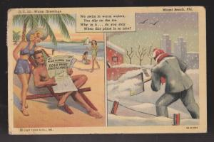 Comic Postcard - Warm Greetings On Beach Vs Shovelling Snow - Used 1944