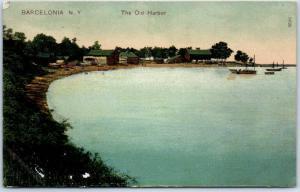 Barcelona, New York Postcard The Old Harbor Birds'-Eye View PCK 1908 Cancel