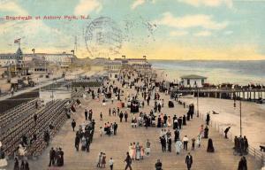 Asbury Park New Jersey Boardwalk Street Scene Antique Postcard K38682