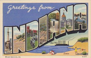Greetings From Indiana Large Letter Linen Curteich