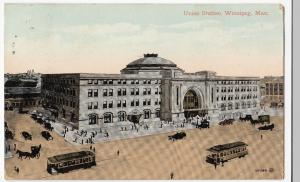 Canada; Union Station, Winnipeg PPC, 1911 Birmingham PMK To Mrs Waite, Boscombe