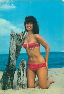 Seaside beauty risque pinup bikini girl postcard
