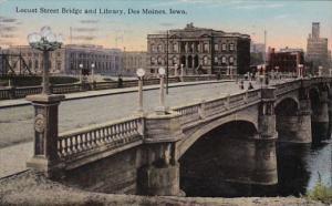Iowa Des Moines Locust Street Bridge and Library 1914 Curteich