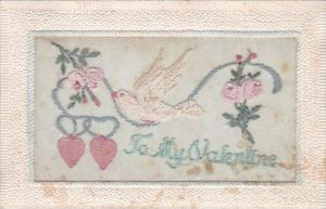 Valentine's Day Embroidered Dove Roses and Heart