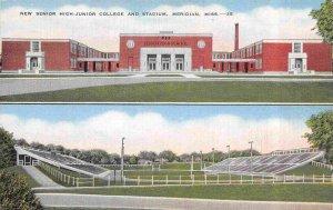 Senior High Junior College & Stadium Meridian Mississippi 1942 linen postcard