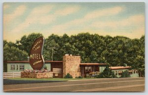 Cincinnati Ohio~Camargo Lodge Motel~Art Deco Roadside~1950 Linen Postcard