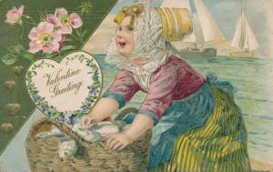 Valentine Greetings - Lady by the Sea with Basket of Fish - pm 1908 - DB