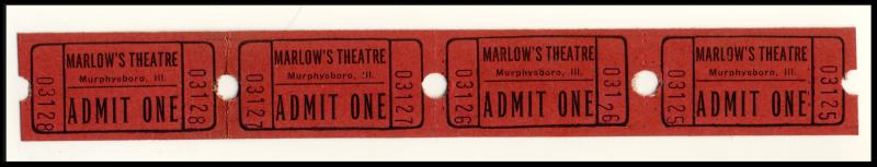 4- Marlow's Movie Theatre 'Admit One' Tickets, Murphysboro, Illinois/IL, 1950's?