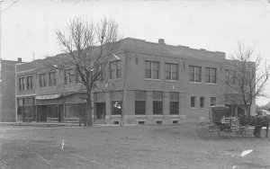 H1/ Almena Kansas RPPC Postcard c1910 State Bank Building